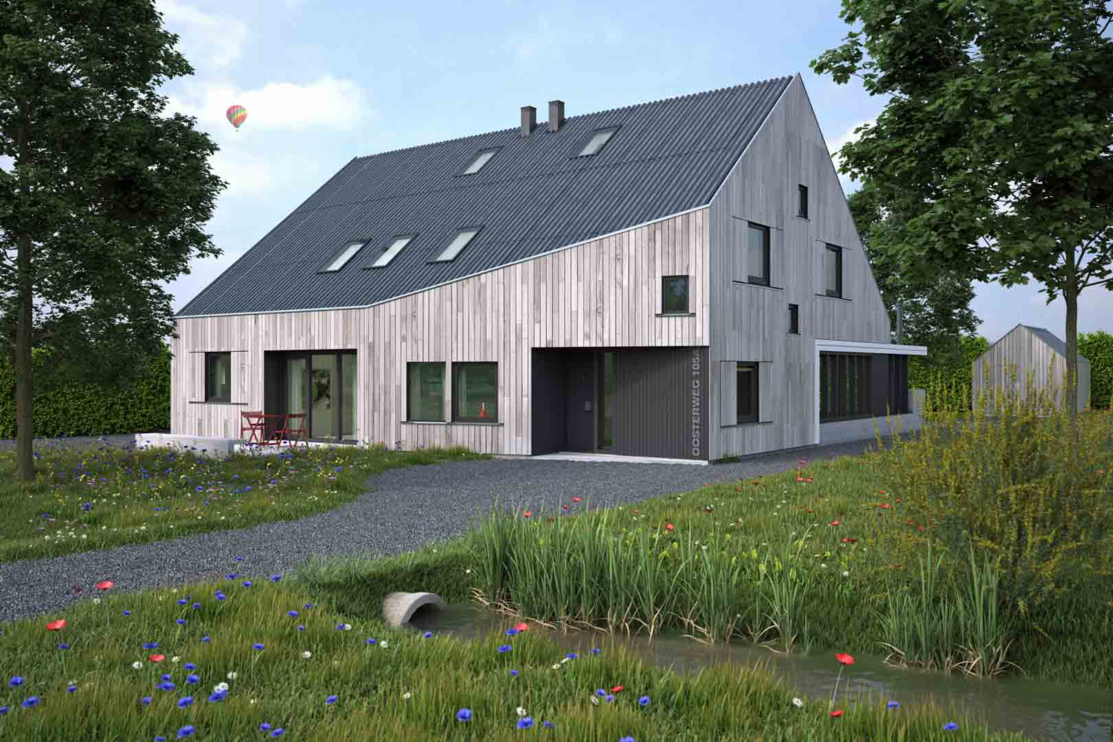 Architectuur visualisatie schuurwoning Haren