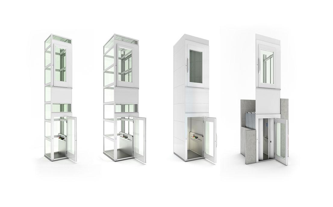 Product visualisatie van 4 liftmodellen